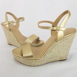 Michael Kors Jill Women Gold Leather Ankle Strap E